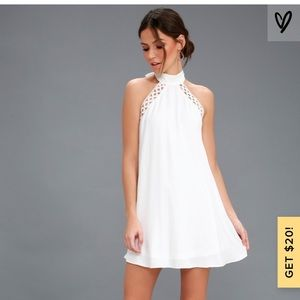 ANY SWAY, SHAPE, OR FORM PINK LACE HALTER DRESS